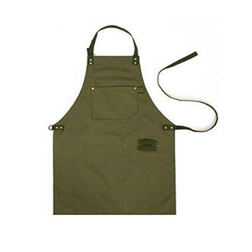 PEFF PEFF Professionelle Army Green Canvas Baumwolle Schürzen Unisex Einstellbare Hals Schürze mit Taschen für Köche Kochen/Reinigung / Küche/Restaurant