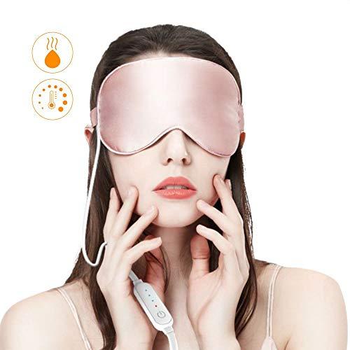 Schlafmaske Augenmaske Frauen und Herren,USB Beheizte Natural Seide Nachtmaske mit Ohrstöpsel zu reduzieren geschwollene Augen, trockene Augen und müde Augen,Anti-Aging Effekt von Dragoskandia