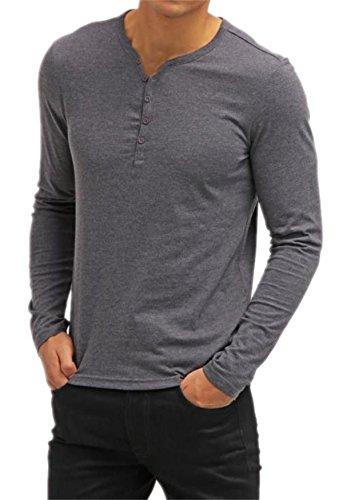 AIYINO Herren Casual T-Shirt mit V-Ausschnitt Kontrast 100% Baumwolle Cardigan (X-Large, Langarm-Anthrazit)