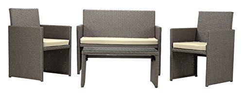 Rattan4Life Sitzgruppe Neapel, 4-teilig Deluxe Polyrattan Gartenmöbel Set, Sofa / Lounge / Gartengarnitur / Kissenbezüge, Rattan grau / braun, Bezug beige
