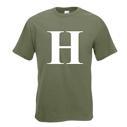 KIWISTAR - Buchstabe H - Alphabet T-Shirt in 15 verschiedenen Farben - Herren Funshirt bedruckt Design Sprüche Spruch Motive Oberteil Baumwolle Print Größe S M L XL XXL Olive