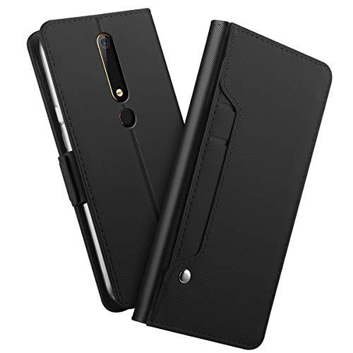 zukabmw Nokia 6.1 Leder Brieftasche Hülle mit Replacement Nokia 6.1 Flip Hülle, Replacement, Robuste Schutzhülle Hülle (Black)