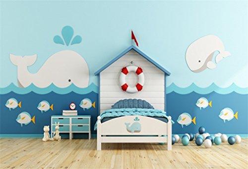 YongFoto 2,2x1,5m Foto Hintergrund Cartoon Kinder Haus Segeln Life Boje Dolphin Flag Bett Bälle Fisch Wellen Holzboden Innere Fotografie Hintergrund Fotoshooting Portrait Party Kinder Fotostudio
