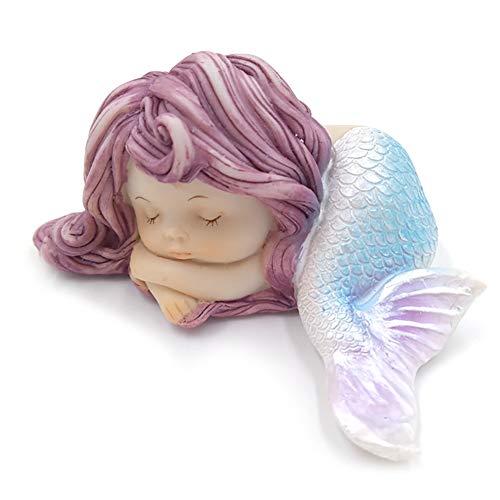 rnament Harz schlafend Kleine MeerJungfrau-Statue für Miniatur-MärchenGarten Aquarium und Kuchen Dekorationen 1pc ()