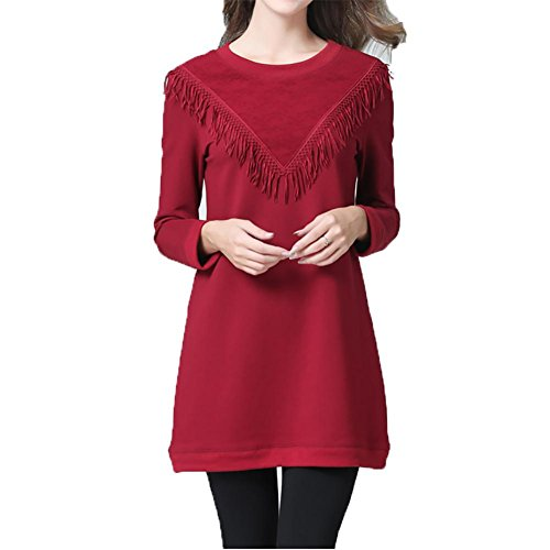 Flapper Kleid Rot Größe Plus (YUYU Damen-Rundhalsausschnitt Die lange Hülse Frühlings-Groß Wine Red Quaste Mode Kleid , wine red ,)