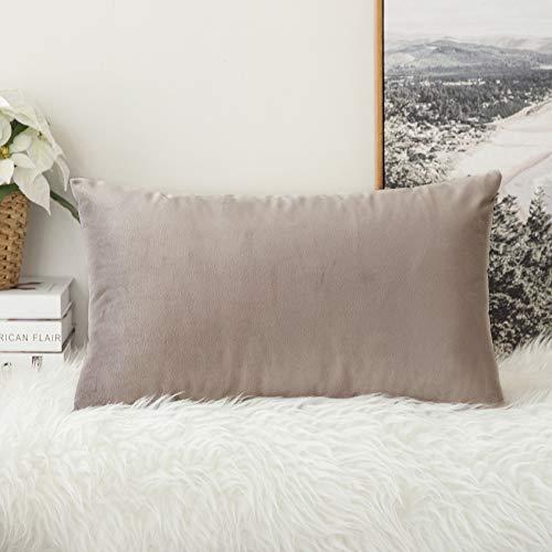 Miulee confezione da 1 federa in velluto copricuscino decorativo fodera quadrata per cuscino per divano camera da letto casa auto 30x50cm cuore di legno