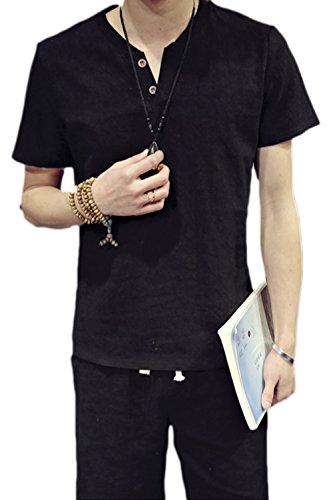 Männer - T - Shirts Leinen - Baumwoll - Lässig, Kurze Ärmel 2 Tasten Henley Top Schwarz XL (Chinesisch-taste)