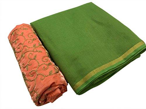 SilverStar Women's Green Color Chanderi Cotton Plain Sari With Orange Color Embroidery...