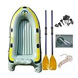 Ensemble de Kayak Gonflable D'excursion pour 4 Personnes avec 2 Avirons Et Une Pompe À Pied À Haut Rendement - Pêche À La Ligne Et Activités de Loisir Assis sur Un Bateau de Pêche de Poids Léger, Île