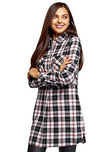 oodji Ultra Mujer Vestido Camisa con Bolsillos, Negro, ES 34 / XXS