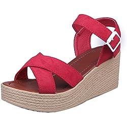 Sandalias de vestir, Culater Zapatos mujer plataforma bajos Zapatillas (37, Rojo)