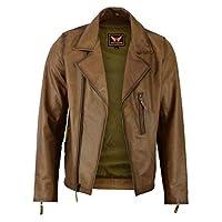 Mens Classic Vintage Genuine Top-Grain Cowhide Bicker Leather Jacket (Brown, Large)