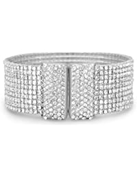 Silver Tone 10 Row Crystal Flex Cuff Fashion Bracelet 20mm Wide Base Metal