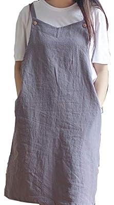 BBYBBS Verstellbare Küchenschürze im japanischen Stil, Baumwollleinen, mit 2 Taschen, Pinafore Schürze für Damen, Chef, Kellnerin, Friseurin passt für Grill, Grill, Lack und Kreuz-Rücken-H Schulterriemen