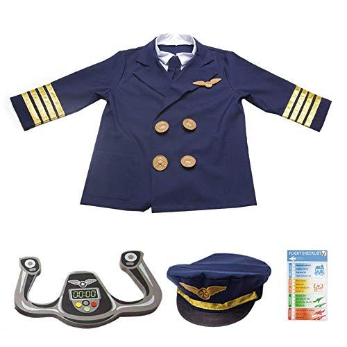 Pilot Kostüm Kinder Set Flieger Verkleidung Jungen Kostüm Kappe für Party Halloween ()