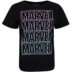 Marvel Line Logo Camiseta, Negro (Black Blk), 42 (Talla del Fabricante: Large) para Mujer