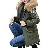 BaZhaHei Damen Mantel Outwear Jacke Oberbekleidung Arbeiten Sie Festen Beiläufigen Dickeren Mantel Einfarbig Langer Abschnitt Baumwollkleidung Reißverschluss Tasche Lange Ärmel Mantel