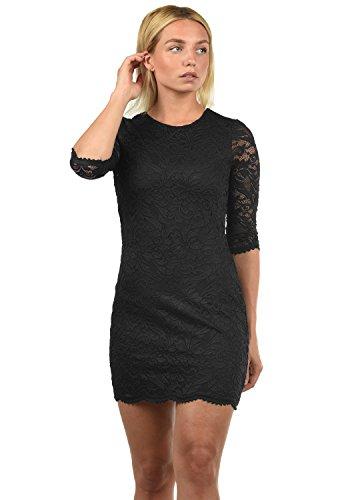 VERO MODA Ewelina Damen Etuikleid Mit Spitze Abendkleid Mit Rundhals-Ausschnitt Elastisch, Größe:S, Farbe:Black