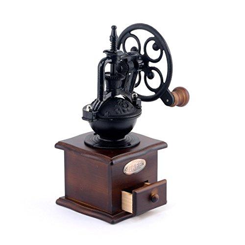 Manuelle Kaffeemühle Antik Gusseisen Handkurbel Kaffee Mühle mit Grind Einstellungen & Catch Schublade 12,5x 12,5x 26cm (Antike Manuelle Kaffeemühle)