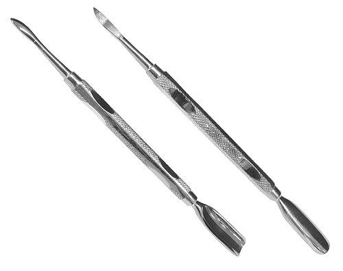 Nagelreiniger + Nagelhautschieber als ein maniküreinstrument für die professionelle Arbeit am Nagel, ca. 12cm lang, aus rostfreiem & gehärtetem Edelstahl, geriffelter Griff