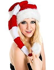 Lange Große Weihnachtsmütze Nikolausmütze Rot Weiß Santa Mütze Gestreift Neu WM0107017_FBA