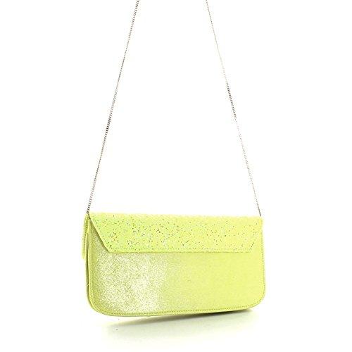 Pochette borsa donna / woman SARA LOPEZ con decorazioni a rilievo bo16312 Giallo