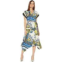 bf57bb561b Debenhams Star by Julien Macdonald Womens Blue Scarf Print Midi Wrap Dress  20