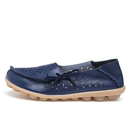 AFFINEST Mocassins Femmes Loisirs Creux-dehors Confort Chaussures Plates Loafers en PU Cuir Chaussures de Conduite bleu foncé