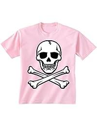 Flip Youth para niños diseño de Calavera y de Calavera Pirata T-Camiseta de  Manga c7f174547fe84