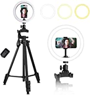 QITELE Cell Phone Tripod Extendable Phone Tripod, Lightweight Travel Tripod with Bluetooth Remote Shutter Stan
