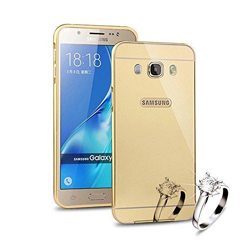 HICASER Alluminio Metallo Custodia per Samsung Galaxy J7 (2016) J710 Lusso Bumper Case + Specchio Back Cover Ultra Sottile 2 in 1 Telefono Protettiva Caso