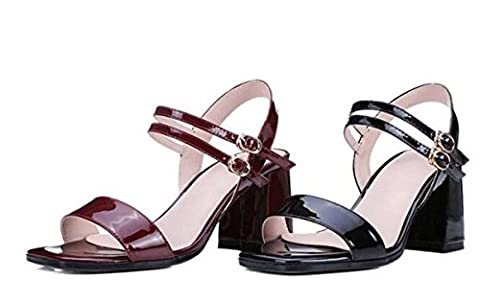 Beauqueen Pompes CASUAL SANDALS Summer Girls Femmes Square-toe Simple Patent Leather Black Sandales rouges Europe Taille standard 34-39 , wine red , 34