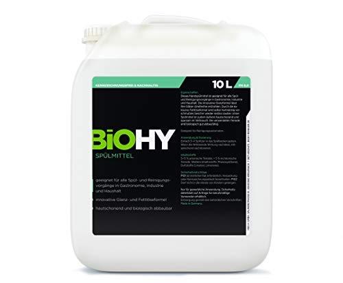 BIOHY Spülmittel 10 Liter Kanister Geschirr-Spülmittel, Ultra-Konzentrat, Hautschonend, für Gastronomie, Industrie und Haushalt, Hand-Spülmittel, Schmutz- Fett- Löser, Profi Bio-Reiniger -