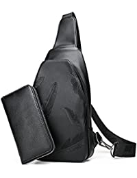 Wushiyan Men s shoulder bag Men s 2 In 1 Bag Set Chest Bag Casual Diagonal Shoulder  Bag ae3a4732b2098