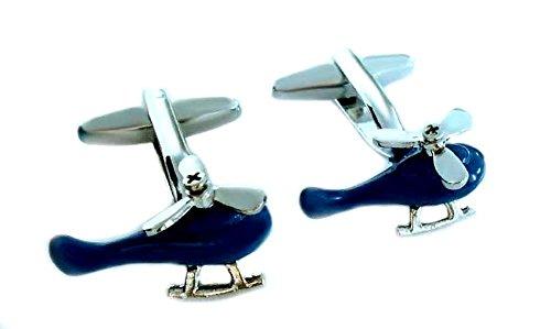 Unbekannt Hubschrauber Helikopter Manschettenknöpfe silbern blau + Silberbox