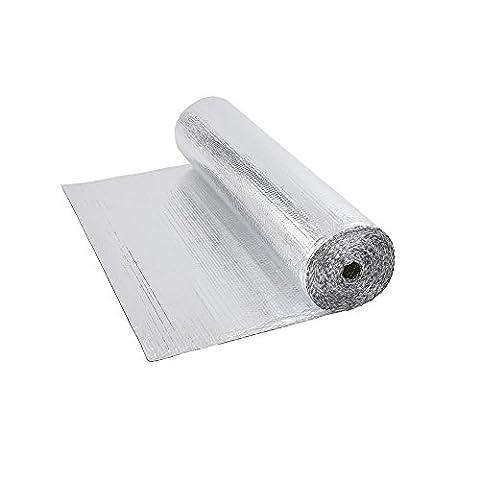 Biard Double Aluminium Bubble Foil Insulation - 1.2m x 5m (6m2) Roll 6 Square Metre - Floor Loft Wall Motorhome Boat Shed - 200g per