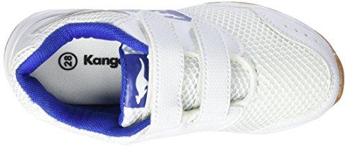 KangaROOS Rodo V, chaussons d'intérieur mixte enfant Blanc (White/Royal)