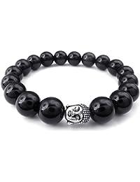 KONOV Joyería Pulsera de hombre, 12mm Bola, Budismo Budista Cuentas Mala, Ágata Ónix Aleación, Color negro plata (con bolsa de regalo)