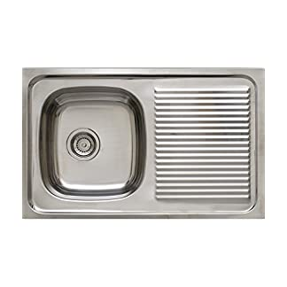 Timblau Fregadero de Cocina con Seno y Escurridor, Acero Inoxidable, Gris Metalizado, 84x33x59 cm