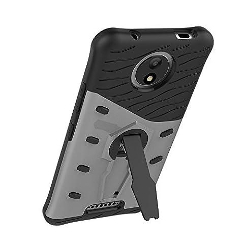 UKDANDANWEI Motorola Moto C Plus Étui Coque - 2 Couche Holster Combo Antichoc [Protection Goutte]360 degrés support de rotation Soutien Hard Cover Case pour Motorola Moto C Plus - Argenté