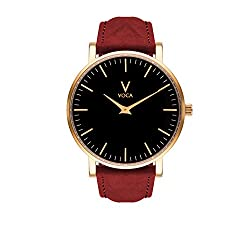 Tempus 40mm Black and Gold with Red suede strap