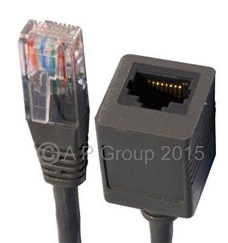 Rhinocables - Cable alargador de red Ethernet macho a hembra (5 m, RJ45), color gris