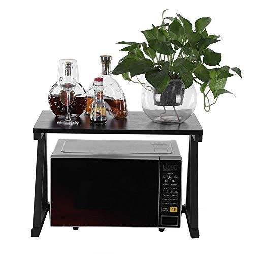 Mikrowellenregal, 2 schichten Lagerregal Mikrowelle Regal Mikrowellenständer Küchenregal für die Aufbewahrung von Mikrowellengeräten Elektroherden Tellern Tassen, 57 * 38 * 38 cm (Schwarz)