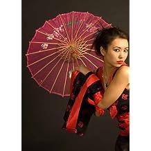 8ae223457b Geisha oriental chica rosa sombrilla de seda