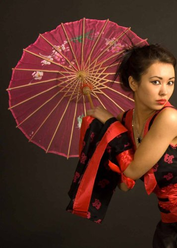 -Mädchen rosa Seide Sonnenschirm (Geisha Mädchen Rosa Kostüme)