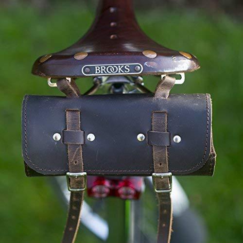 London Craftwork Classic Saddle/Manillar Bolso Cilindro Cuero Auténtico Marrón Chocolate para Bici Herramientas