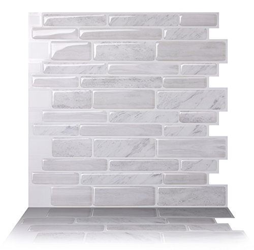Tic Tac Tiles   Premium Anti Mold Peel And Stick Wall Tile Backsplash In  Polito White