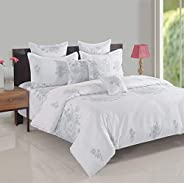 Swayam Zinnia Collection Fitted King Bedsheet Set, White, 180 x 200 x 40 cm, KFT15023