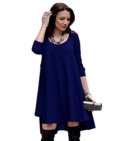 Lihaer Damen T-Shirt Kleid Minikleid Casual Lose Rundhals Langarm Ärmel Stretch Basic Kleider Shirtkleid Saphir M