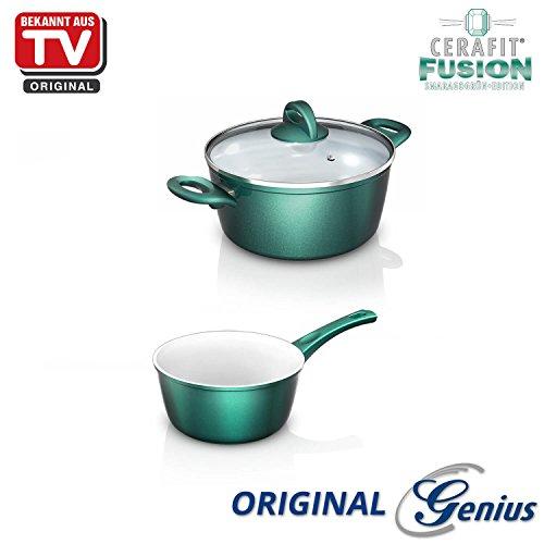 Genius CERAFIT Fusion–Kit Pot avec couvercle en verre–3pièces–Fusion de Revêtement Céramique–connu en TV | neuf